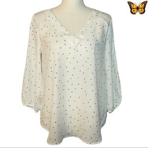 Kismet White 3/4 Sleeve Blouse with Hearts Size Extra Small